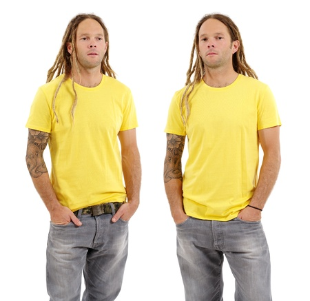 front views: Photo of a male in his early thirties with long dreadlocks and posing with a blank yellow shirt.  Two different front views ready for your artwork or designs.