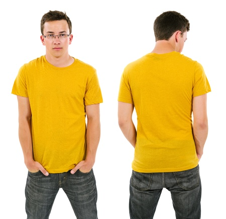 the yellow: Photo of a male in his late teens posing with a blank yellow shirt.  Front and back views ready for your artwork or designs. Stock Photo