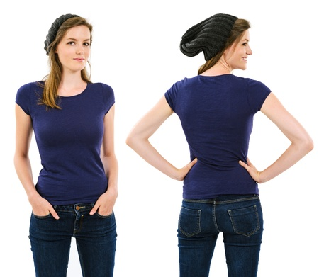 Photo of a young adult female with long hair posing with a blank purple shirt and beanie.  Front and back views ready for your artwork or designs.