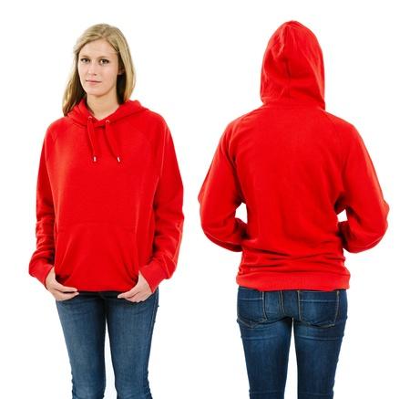 sudadera: Foto de una mujer joven con el pelo largo y rubio posando con una sudadera con capucha delantera y trasera roja en blanco ve listo para sus ilustraciones o diseños