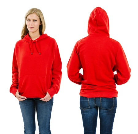 Photo of a teenage female with long blond hair posing with a blank red hoodie   Front and back views ready for your artwork or designs  Фото со стока