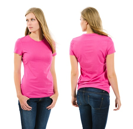 Photo of a teenage female with long blond hair posing with a blank pink shirt   Front and back views ready for your artwork or designs