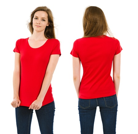 Photo of a young adult female posing with a blank red shirt.  Front and back views ready for your artwork or designs.  photo