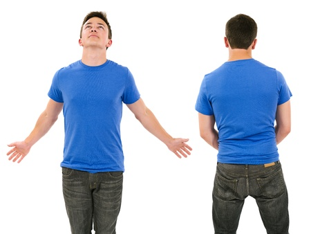Photo of a male in his late teens posing with a blank blue shirt.  Front and back views ready for your artwork or designs. photo