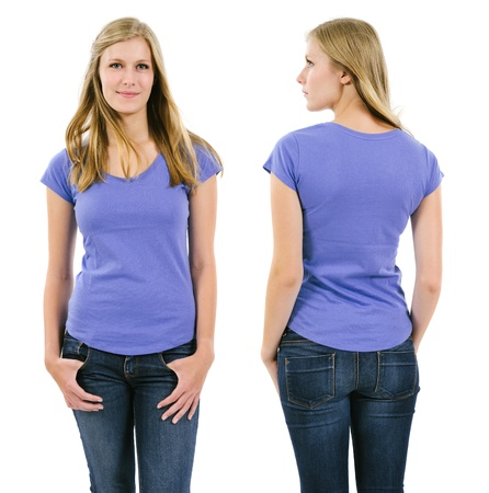 Photo of a young adult female posing with a blank purple shirt.  Front and back views ready for your artwork or designs. Stock Photo