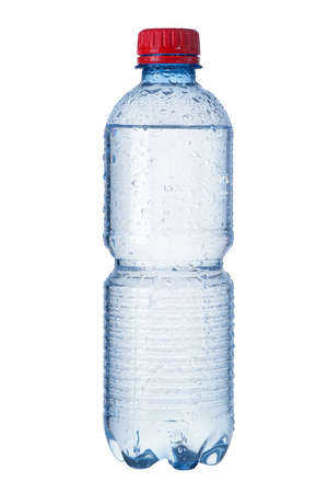 purified: Photo of a bottle of mineral water.   Water droplets are visible  Stock Photo
