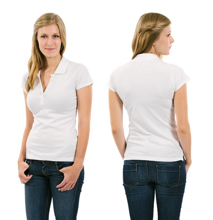 polo t shirt: Photo of a young female in her late teens posing with a blank white polo shirt   Front and back views ready for your artwork or designs