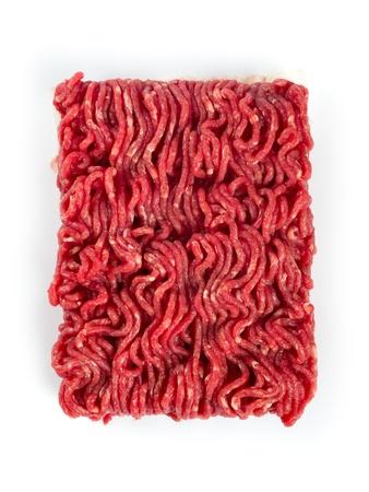 carne picada: Foto de carne molida fresca sobre fondo blanco Foto de archivo