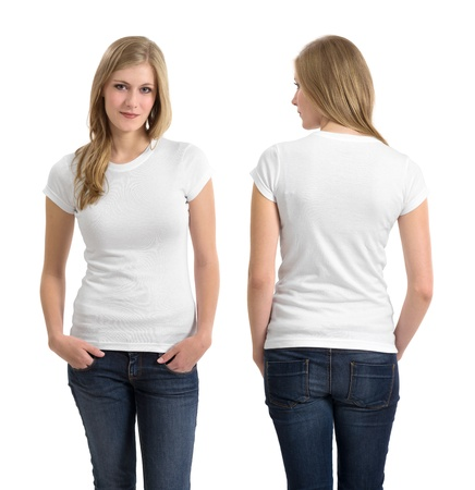 shirt: Photo of a teenage female in with long blond hair posing with a blank white shirt.  Front and back views ready for your artwork or designs.