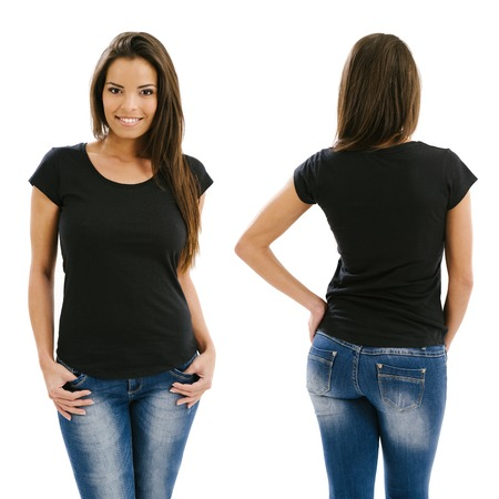 Young beautiful sexy female with blank black shirt, front and back. Ready for your design or artwork.