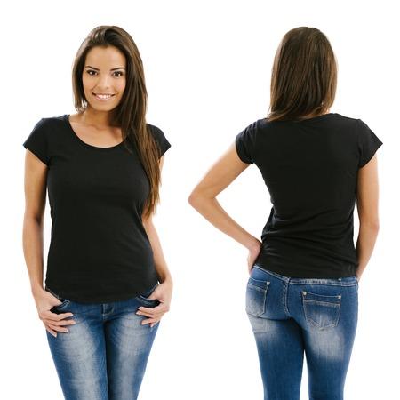 Jonge mooie sexy vrouw met lege zwarte shirt, voor-en achterkant. Klaar voor uw ontwerp of kunstwerk. Stockfoto