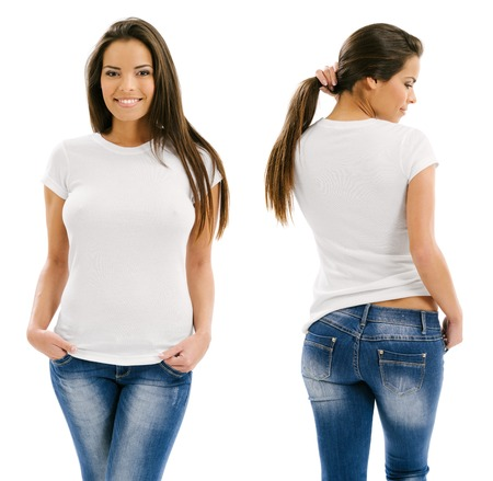 Young beautiful sexy female with blank white shirt, front and back  Ready for your design or artwork  photo