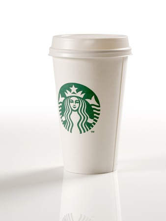 Starbucks paper cup isolated on a white background  Editorial