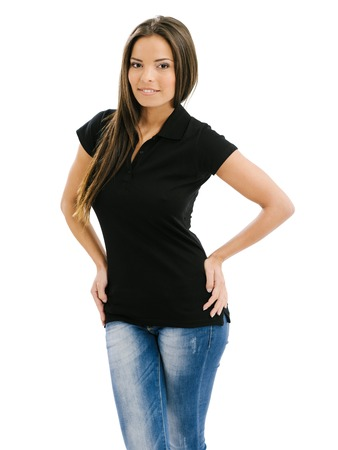 black women hair: Young beautiful woman posing with a blank black polo shirt. Ready for your design or artwork.
