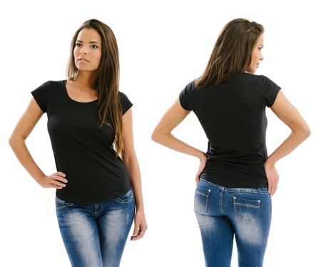 back posing: Young beautiful sexy female with blank black shirt, front and back. Ready for your design or artwork. Stock Photo