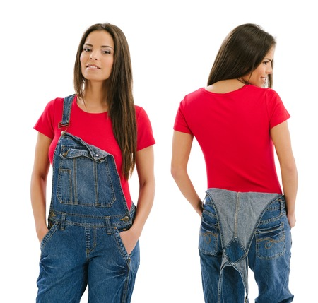 Young beautiful sexy female with blank red shirt and overalls, front and back. Ready for your design or artwork. photo