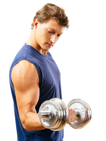 arms body: a man in his early thirties doing bicep curls with a dumbbell over a white. Side view version.