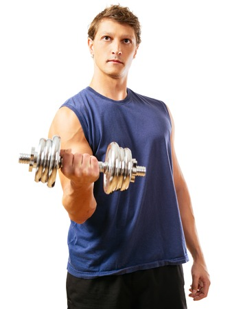 early thirties: a man in his early thirties doing bicep curls with a dumbbell over a white. Front view version. Stock Photo