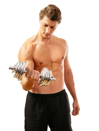 early thirties: Photo of a man in his early thirties doing bicep curls with a dumbbell isolated on white