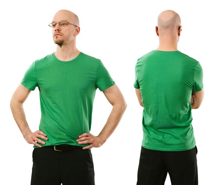 Photo of a man wearing blank green t-shirt, front and back  Ready for your design or artwork