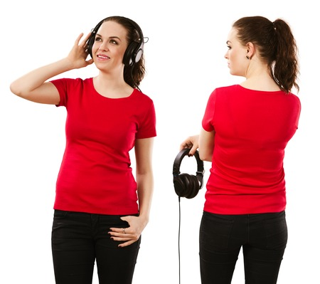 listening back: Young beautiful brunette female with blank red shirt listening to music, front and back. Ready for your design or artwork. Stock Photo