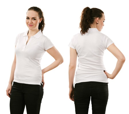 Young beautiful brunette female with blank white polo shirt, front and back. Ready for your design or artwork. photo