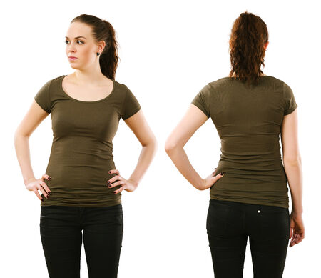 olive green: Young beautiful woman with blank olive green shirt, front and back. Ready for your design or artwork.