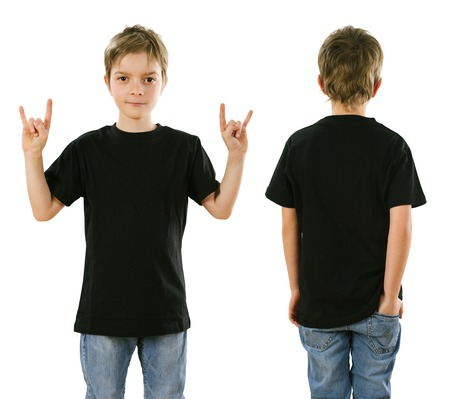 from the front: Young boy with blank black t-shirt, front and back. Ready for your design or artwork.