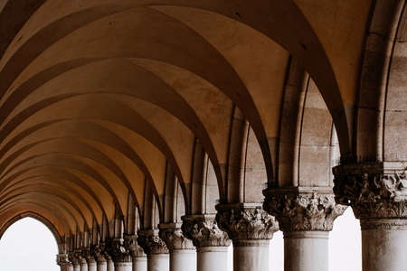 piazza san marco: Photo of a row of arches and columns in Piazza San Marco in Venice Italy. Stock Photo