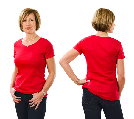 Photo of a beautiful blond woman in her early forties wearing a blank red shirt. Ready for your design or artwork.