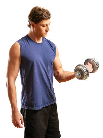 early thirties: Photo of a man in his early thirties doing bicep curls with a dumbbell over a white background.
