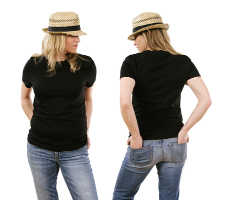 Photo of a beautiful blond woman in her early forties wearing a blank black shirt. Ready for your design or artwork. Stock Photo