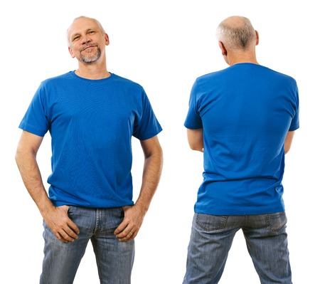 Photo of a man in his mid forties wearing a blank blue shirt. Ready for your design or artwork.