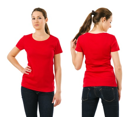 red shirt: Young beautiful brunette female with blank red shirt, front and back. Ready for your design or artwork.