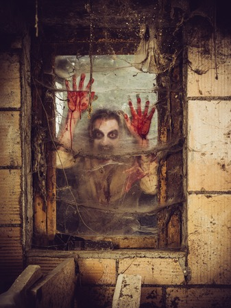 Photo of a zombie outside a window that is covered with blood, spiderwebs and filth.