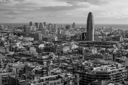 Photo of Spain, overlooking the beautiful city of Barcelona  Done in black and white