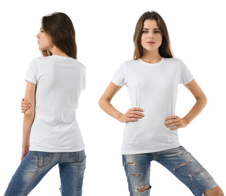 Young beautiful sexy female with blank white shirt, front and back. Ready for your design or artwork. Фото со стока