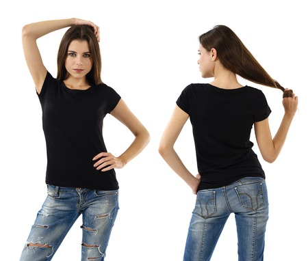 Young beautiful sexy female with blank black shirt, front and back. Ready for your design or artwork. Фото со стока