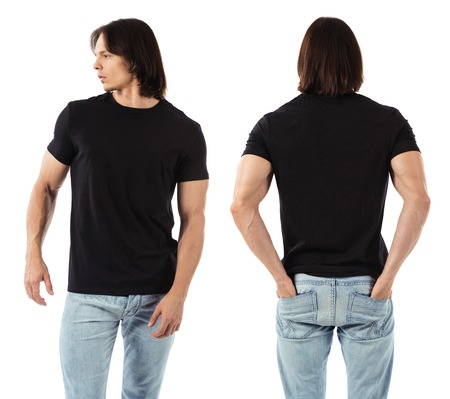 Photo of a man wearing blank black t-shirt, front and back. Ready for your design or artwork. Stock Photo