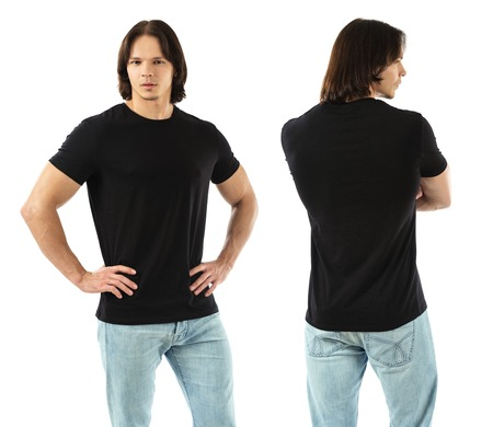 back posing: Photo of a muscular man wearing blank black t-shirt, front and back. Ready for your design or artwork.