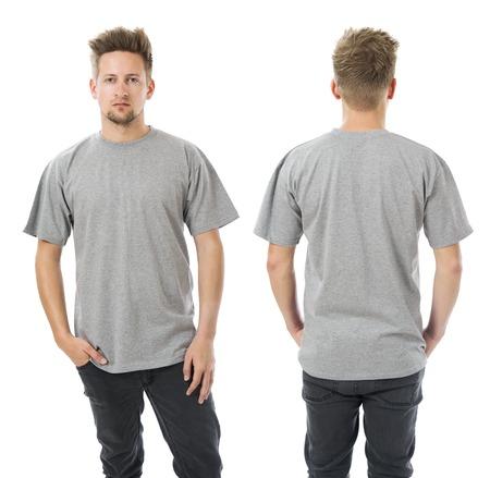 Foto von einem Mann mit leeren grauen T-Shirt, vorne und hinten. Bereit für Ihr Design oder Grafik. Standard-Bild - 30676678