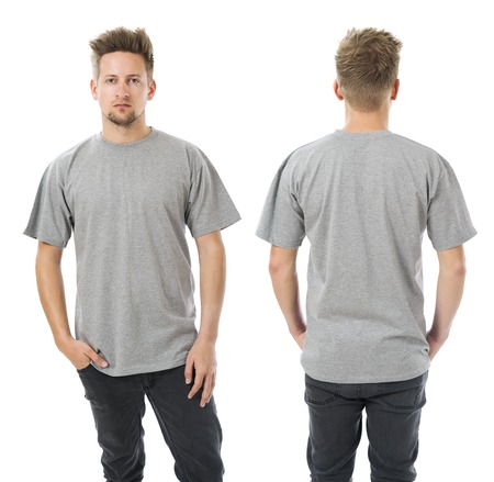 short back: Photo of a man wearing blank grey t-shirt, front and back. Ready for your design or artwork.
