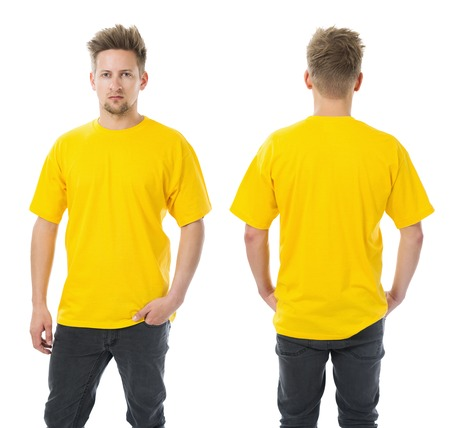 Photo of a man wearing blank yellow t-shirt, front and back. Ready for your design or artwork. Standard-Bild