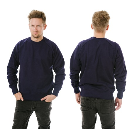 short back: Photo of a man wearing blank dark purple sweatshirt, front and back.  Stock Photo