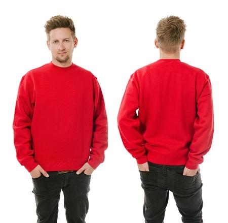 sudadera: Foto de un hombre que llevaba en blanco rojo la camiseta, la parte delantera y trasera. Foto de archivo
