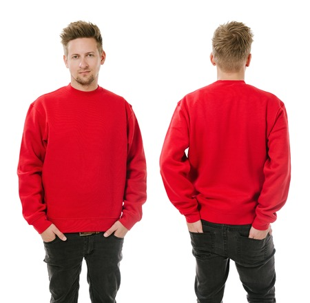 Photo of a man wearing blank red sweatshirt, front and back.
