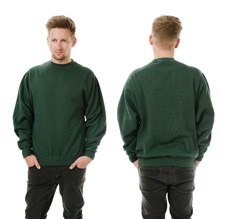 short back: Photo of a man wearing blank green sweatshirt, front and back.
