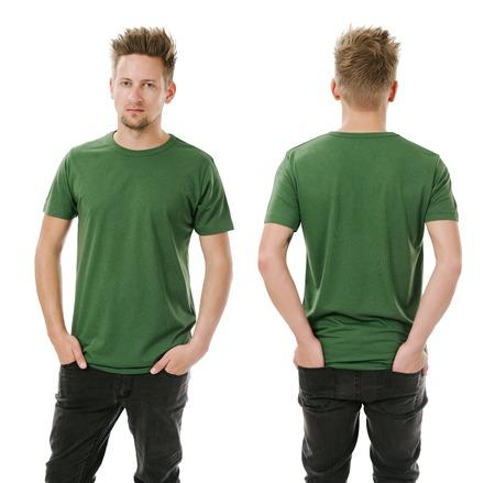camisa: Foto de un hombre que llevaba en blanco verde t-shirt, delante y detr�s. Listo para su dise�o o arte.