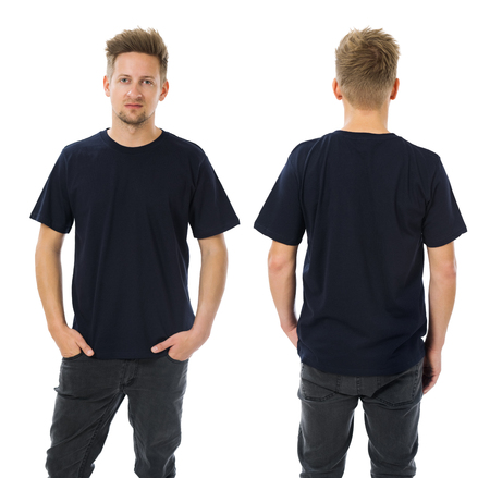 tshirt: Photo of a man wearing blank dark blue t-shirt, front and back. Ready for your design or artwork.