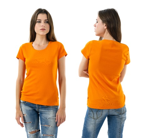 Photo of a young beautiful woman with blank orange shirt, front and back.